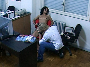 Slutty latin gf sucking her bf in her office